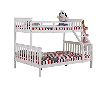 Yakoe Solid Pine Triple Sleeper Bunk Bed, Wood, White, Double - cheap UK light store.