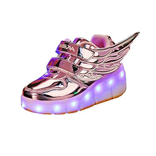 USB Aufladung Skateboard Schuhe mit Rollen Mädchen Jungen Erwachsene LED Licht Sneaker
