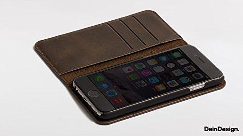 Apple iPhone 6s Flip Tasche Echt Ledertasche Leder Hülle 2 in 1 Case und Sideflip Tasche Echtleder Sideflip Tasche braun