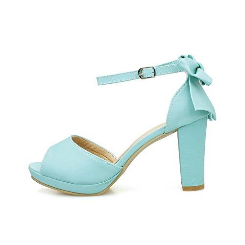 VogueZone009 Donna Puro Luccichio Tacco Alto Fibbia Sbirciare Sandali Azzurro