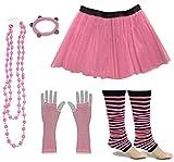 A-Express Frauen kostüm 80er Jahre Neon Tutu Streifen Beinstulpen Fischnetz Handschuhe Tüllrock Karneval Tüll Damen Fluo Ballett Verkleidung Party Tutu Rock Kostüm Set (36-44, Hellrosa)
