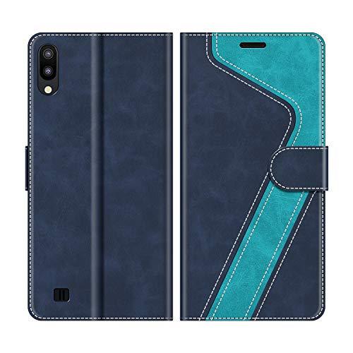 MOBESV Handyhülle für Samsung Galaxy A10 Hülle Leder, Samsung Galaxy A10 Klapphülle Handytasche Case für Samsung Galaxy A10 / Galaxy M10 Handy Hüllen, Modisch Blau