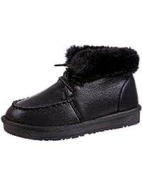 Jitong Femmes Doublure en Fausse Fourrure Bottines Faux Cuir Bottines  Hauteur Cheville Talon Plat Boots Lacets ad2e424bf663