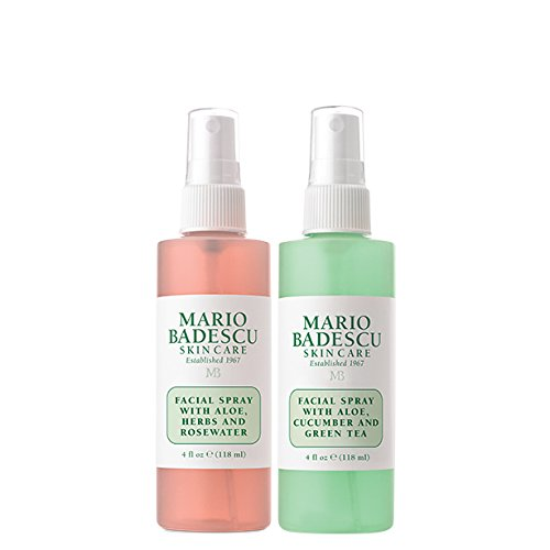 Mario Badescu Facial Spray with Rosewater & Facial Spray with Green Tea Duo -