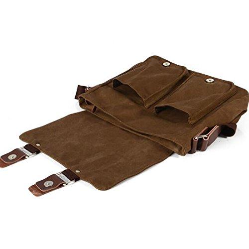 Plover Damen Herren Segeltuch Schultertasche Messenger Bag Kreuz-Körper-Beutel Weekender Tasche braun