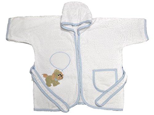 Baby-Badecape aus 100 % Baumwollfrottee mit Aida-Stoff für Kreuzstich-Stickerei Tg 05 (24/36 Mesi) himmelblau
