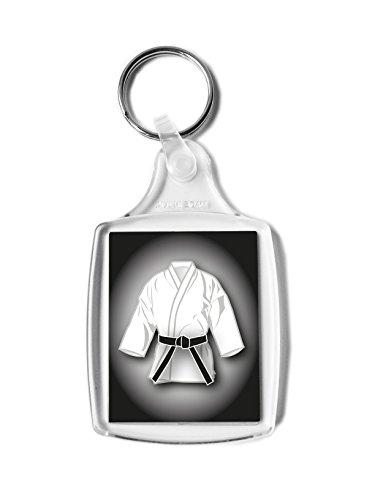 Negro cinturón blanco GI regalo llavero, Karate, Kickboxing, Judo, Ju Jitsu, clasificación Pass regalo