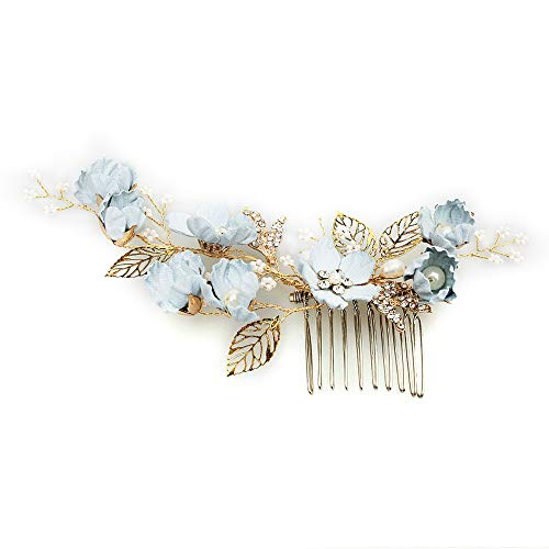 Hochzeit Haarkamm Legierung Blau Blumen und Perlen Haarkamm handgefertigt Kristall Brautschmuck Clips für Brautjungfern