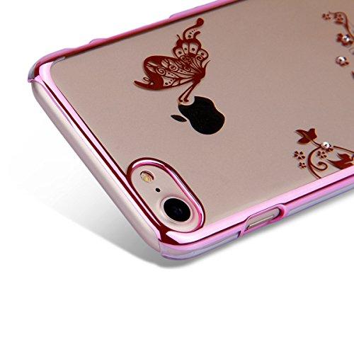 Coque Etui pour iPhone 7/iPhone 8, iPhone 8 Coque Flexible Hard Case Dur Rigide d'or Placage Housse,iPhone 7 Coque de Protection en Plastique Housse Etui Plastic Case Cover Protector, Ukayfe étui de p Papillon-Rose