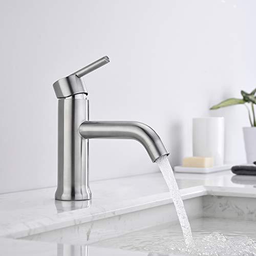 AiHom Badarmatur Wasserhahn Bad Armatur Einhebel Waschtischarmatur Einhandmischer Mischbatterie Waschtisch für Badezimmer, Matt
