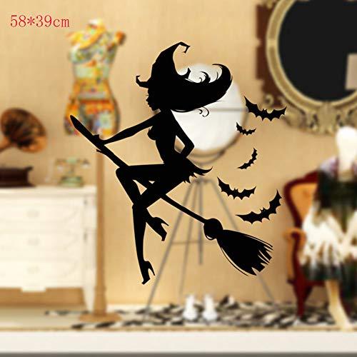 Xue Halloween-Tapeten, Hexe, Glas, Fenster, Wohnzimmer, Schlafzimmer, Wandaufkleber, Tapeten, Wanddecal, Wandgemälde, Aufkleber, Kunst Dekor, Selbstklebendes Papier