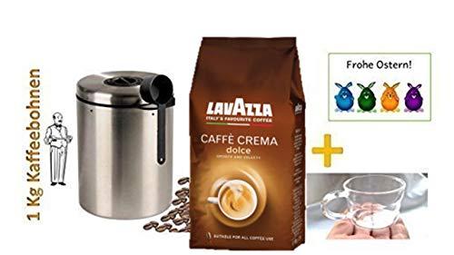Lavazza Caffè Crema Dolce Genießen Sie die typisch samtige Crema eines italienischen Spitzen-Caffès + OSTERAKTION 4 Espressotassen 100ml aus Glas mit Henkel + Edelstahldose für 1 kg Kaffeebohnen