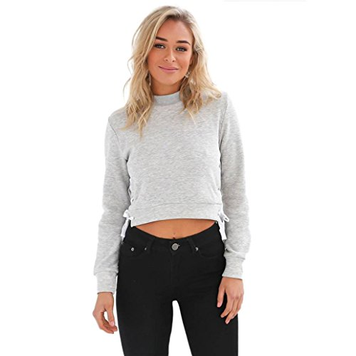 Printed V-neck Tee (Xinan Damen Kapuzenpullover Damen Sweatshirt Hoodie Shirt Crop Top (XL, ✯Grau))