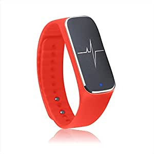 Docooler Smart Bracelet Sport Activity Fitness Tracker Pedometer Wristband Heart Rate Blood Pressure Emotional Status Fatigue Level Bluetooth 4.0 for iOS Android APP Control Incomm L18 Red