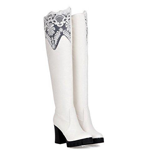 VogueZone009 Damen Überknie Hohe Stiefel Gemischte Farbe Ziehen Auf Hoher Absatz Stiefel Weiß