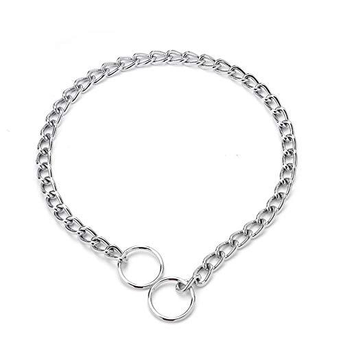 ZXPAG Würgehalsbänder für Hunde Hund Choker Halsband Hundehalsband Kette für Hunde Kreative Hund Halsband Kette Achter-Knoten Kette Kragen Hund Gehorsam Ausbildung Befehl,Silber,4.0mm*65cm