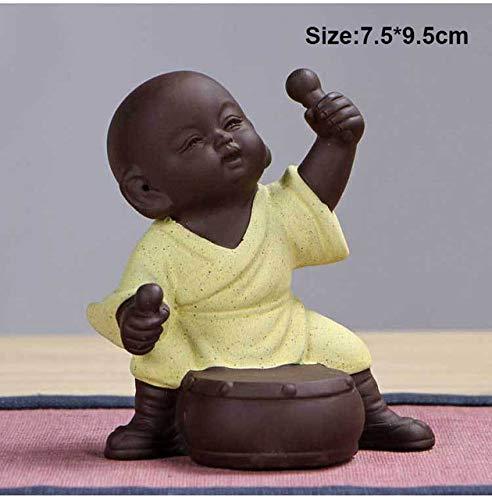 WARDE Keramischer Teehaustierbuddha-Statuenmönchhauptdekordekoration-Pipijunge purpurroter Sand Tee verziert das Urinieren des Jungen, gelb