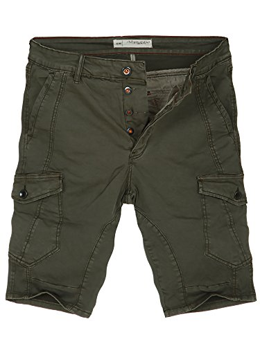 L.A.B 1928 Cargo Shorts Herren Cargoshorts Kurze Hose Bermuda Sommer Joggjeans Jeans Khaki 8337 W34 (50)