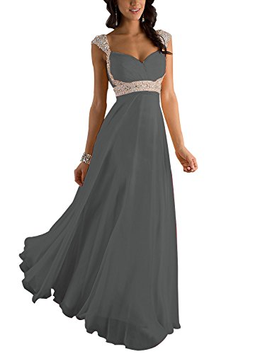 Erosebridal Formal Chiffon Lange Brautjungfernkleider Abendkleid DE 38 Grau