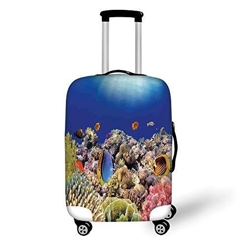 Travel Luggage Cover Suitcase Protector,Ocean,Wild Sea Life Colorful Ancient Coral Reefs Exotic Fishes Bali Indonesia,Tan Blue and Orange,for Travel M -