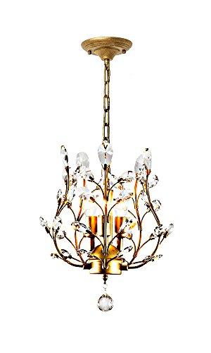 OOFAY 3 Lichter Kristall Kronleuchter, Deckenleuchten, Kristall Anhänger Beleuchtung, Deckenleuchten Für Wohnzimmer Schlafzimmer Restaurant Veranda (Bronze) -