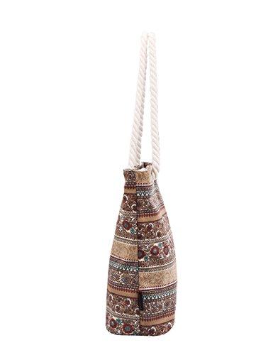 Douguyan tela di canapa variopinto di modo di svago del sacchetto di spalla della spiaggia all'ingrosso signore tote shoulder bag borse donna Ragazze canvas beach shopping women handbag 252F Colore M