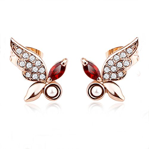 Aischalove Guardiano farfalla naturale perla d'acqua dolce e austriaci diamante Studs made with Swarovski Elements oro rosa placcato - Diamante Perla Stud