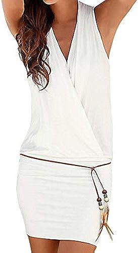 JUTOO Damen Sommerkleid lässig Dress ärmellose Retro Party Strand Minikleid Strand S—2XL