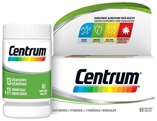 Centrum - Multi Vitamines et Minéraux - 13 vitamines et 11 minéraux - Complément alimentaire pour adulte - Flacon de vitamines / 60 comprimés