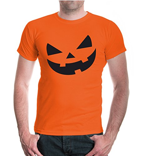 buXsbaum® T-Shirt Halloweenpumkin-Face Orange-Black
