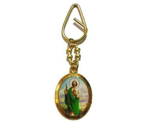 catholic-st-jude-of-thaddeus-key-ring-gold-medal-90mm-keyring-gift