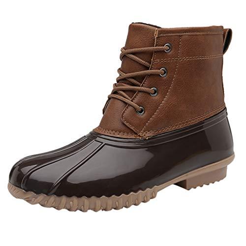 Xuthuly Frauen-Klassische Retro- Patchwork-Kurze Schlauch-Aufladungen beiläufig Plus Samt-Regen-Schuh-Damen-Kurze Bequeme Flache Garten-bereite Schuhe