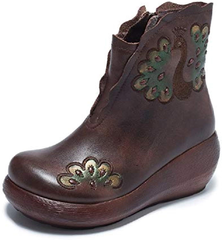 Gaslinyuan Stivali Stivali Stivali con Stampa Floreale Scarpe con Cerniera da Donna. Scarpe Vintage in Pelle (Coloreeeee   Marroneee...   In Uso Durevole  156fe7