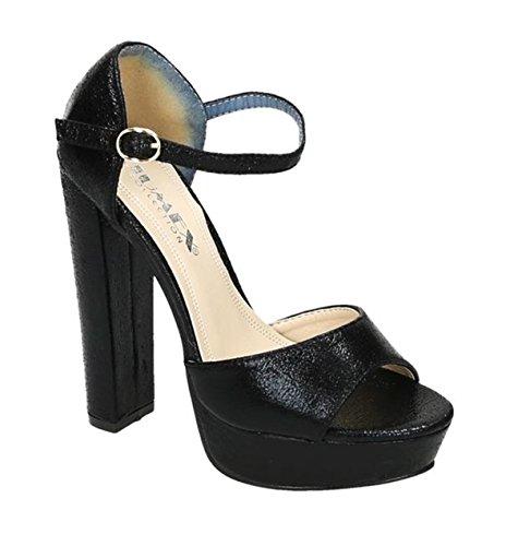 Damen Riemchen Abend Sandaletten High Heels Pumps Metallic Look Peep Toes Party Schuhe Bequem 038 Schwarz