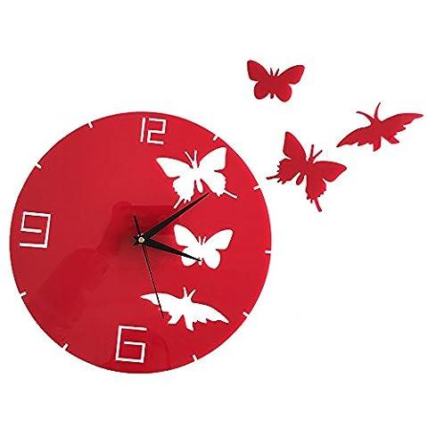 Forepin® Pendules Horloges Murales Moderne Design Bricolage DIY 3D Mute Home Office Salon de Décoration Silencieuse Chiffres Romains Grand Montre Stickers Amovible Rond (Batterie Non Inclus) - Papillon Rouge
