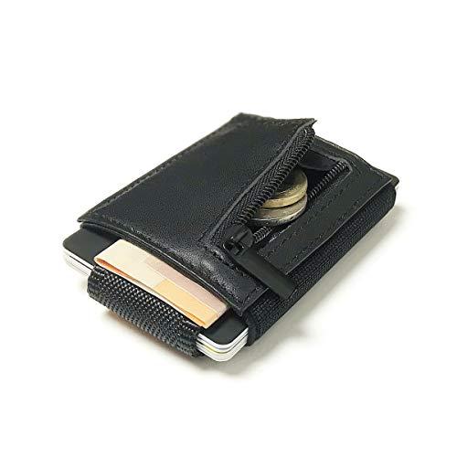 Captain Nano Echtleder Geldbeutel mit RFID Schutz Portmonee Geldbörse | Echtes Leder Kreditkartenetui | Kartenhalter Designed in Germany inkl. Geschenkbox - Schwarz