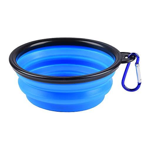 Plegable Viajes Silicona Gatos Perros Bowl Portable Pet Food Cuenco de Agua , Alimentación a Través del Bebedero Portátil de Agua Potable con Gancho de Agua, Fácil de Llevar, Ahorrar Espacio.(1 pcs)