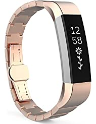 MoKo Fitbit Alta / Alta HR Correa - Reemplazo SmartWatch Band de Reloj de Acero Inoxidable Bracelete con Hebilla Mariposa Pulsera Accesorios para Fitbit Alta / Alta HR Smart Fitness Tracker, Oro Rosa