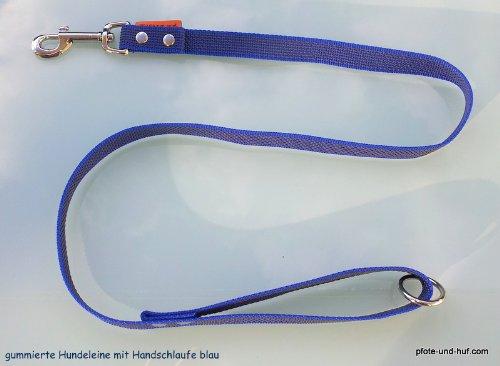 Artikelbild: Gummierte Hundeleine 1,20m mit Handschlaufe u. Ring blau