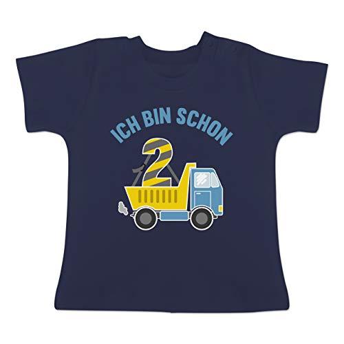 Geburtstag Baby - Ich Bin Schon 2 LKW - 18-24 Monate - Navy Blau - BZ02 - Baby T-Shirt Kurzarm (Zweiten Ideen Geburtstag)