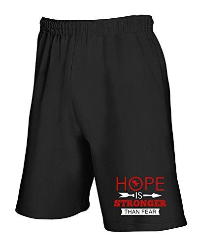 T-Shirtshock - Pantalone Tuta Corto OLDENG00525 hope is stronger than fear, Taglia L