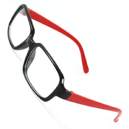Zwart Full Frame Rode Plastic Arms Plano Brillen Brillen Single bruggen