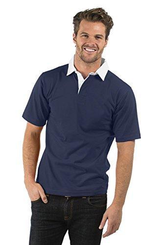 Bruntwood Aufgeld Kurzarm Rugby Hemd - Premium Short Sleeve Rugby Shirt - Herren & Damen - 280GSM - Baumwolle/Polyester (Marine Blau, XL) (Sleeve Short Rugby)