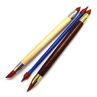 Modellierung Skulptur Werkzeug, Alohha 3 Stück Zwei Kopf Ton Farbe Shapers, Künstler Gummi-Spitze Pinsel, Keramik-Ton-Skulptur Carving-Tools, Blending, Zeichnung