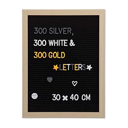 Relaxdays Letter Board, 40 x 30 cm, Holz, 900 x Zeichen, Buchstaben, Retro Rillentafel, Stecktafel, Wandmontage, schwarz