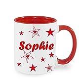 Kaffee Tasse Kaffeebecher mit Namen personalisiert mit Wunschnamen Sterne Namentasse Rot, Schwarz, Blau oder Hellgrün