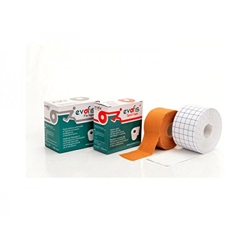 Kit de vendaje funcional - Paquete de 3 rollos de Evofis Sport Tape - Banda rígida al óxido de cinc de alta adherencia en rollos de 3,8 cm x 13,7 m, color natural y 3 rollos de Evofis Fix Tape - Banda ajustable en TNT hipoalergénico y transpirable en rollos de 5 cm x 10 m, color blanco - Ideal para vendajes funcionales, actividad deportiva, método McConnell y Mulligan