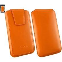 Emartbuy® Sleek Serie Naranja Cuero PU de Lujo Funda Carcasa Case Tipo Bolsa ( Talla 4XL ) con Cierre Magnético y Mecanismo de Pestaña para Estirar adecuada para Huawei Ascend G7