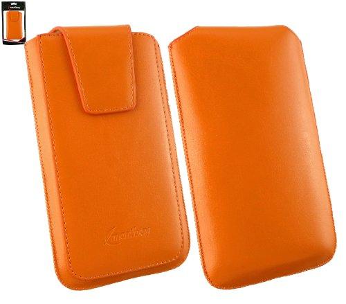 Emartbuy® Sleek Serie Orange Luxury PU Leder Slide in Hülle Case Sleeve Holder ( Größe 4XL ) Mit Ausziehhilfe Geeignet für Oppo N1 Mini