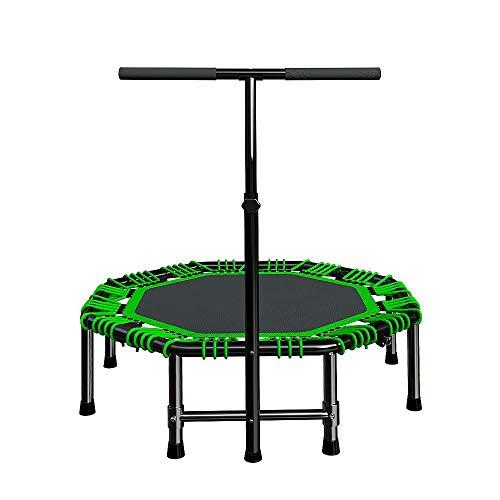 """JGWHW 48\""""Klappbares Indoor-Trampolin, Tragbarer Trampolin-Rebounder mit verstellbarem Handlauf und Sicherheitsauflage für Kinder Erwachsene, Bungee-Seilsystem - Max Limit 286 lbs"""